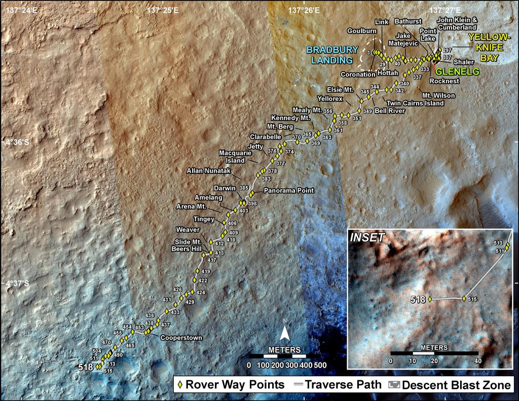 This map shows the route driven by NASA's Mars rover Curiosity through the 518 Martian day, or sol, of the rover's mission on Mars (January 20, 2014).