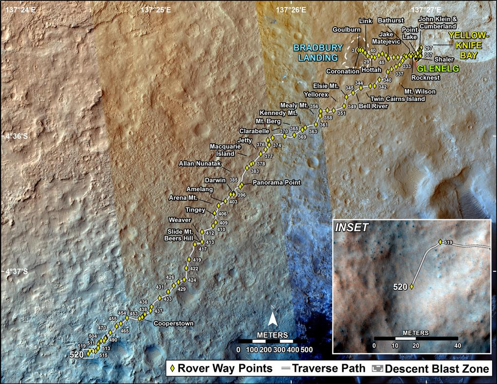 This map shows the route driven by NASA's Mars rover Curiosity through the 520 Martian day, or sol, of the rover's mission on Mars (January 22, 2014).