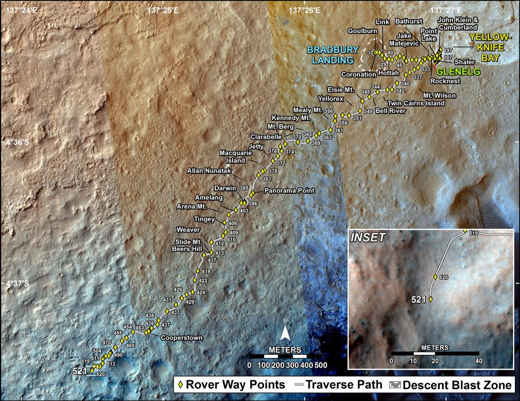 This map shows the route driven by NASA's Mars rover Curiosity through the 521 Martian day, or sol, of the rover's mission on Mars (January 23, 2014).