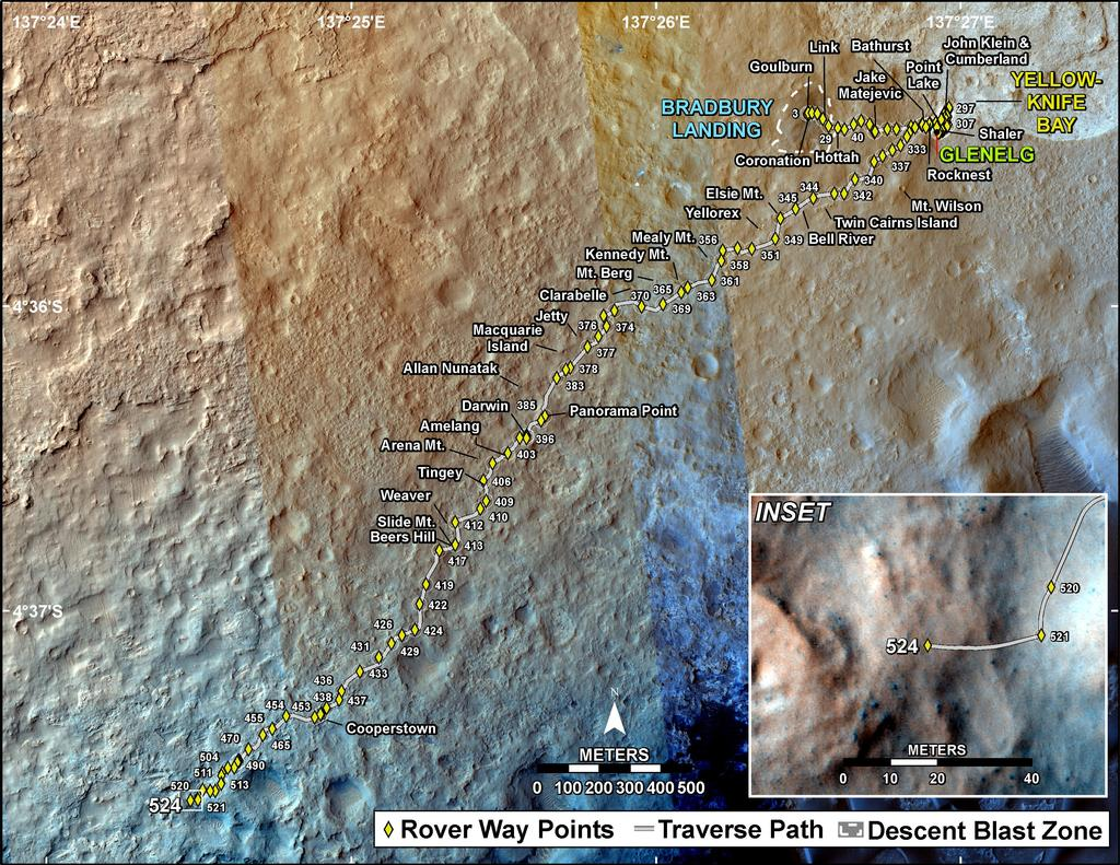This map shows the route driven by NASA's Mars rover Curiosity through the 524 Martian day, or sol, of the rover's mission on Mars (January 26, 2014).