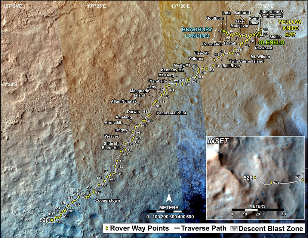 This map shows the route driven by NASA's Mars rover Curiosity through the 526 Martian day, or sol, of the rover's mission on Mars (January 28, 2014).