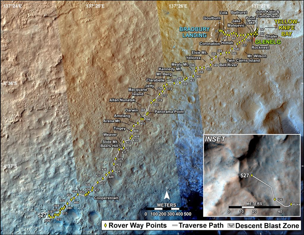 This map shows the route driven by NASA's Mars rover Curiosity through the 527 Martian day, or sol, of the rover's mission on Mars (January 29, 2014).