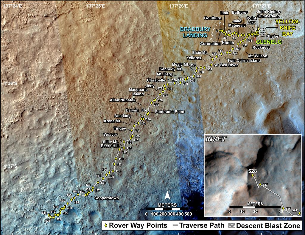 This map shows the route driven by NASA's Mars rover Curiosity through the 528 Martian day, or sol, of the rover's mission on Mars (January 30, 2014).
