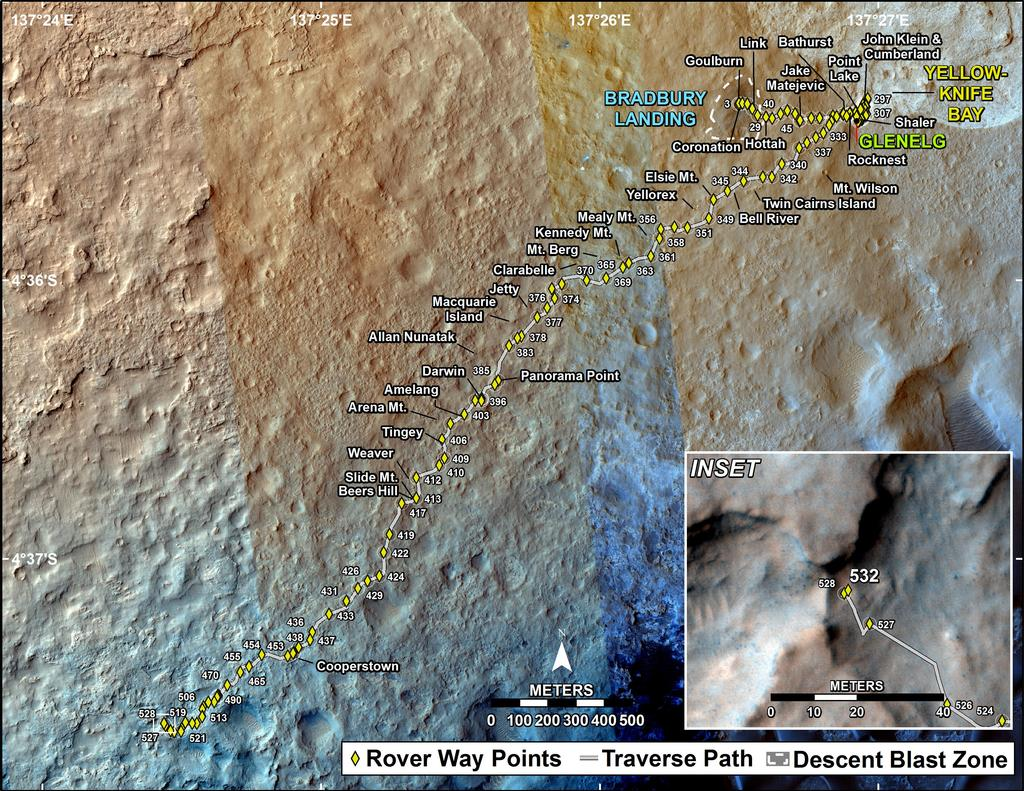This map shows the route driven by NASA's Mars rover Curiosity through the 532 Martian day, or sol, of the rover's mission on Mars (February 3, 2014).