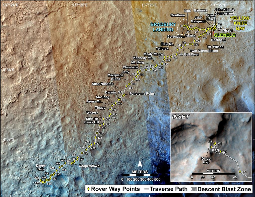 This map shows the route driven by NASA's Mars rover Curiosity through the 533 Martian day, or sol, of the rover's mission on Mars (February 4, 2014).