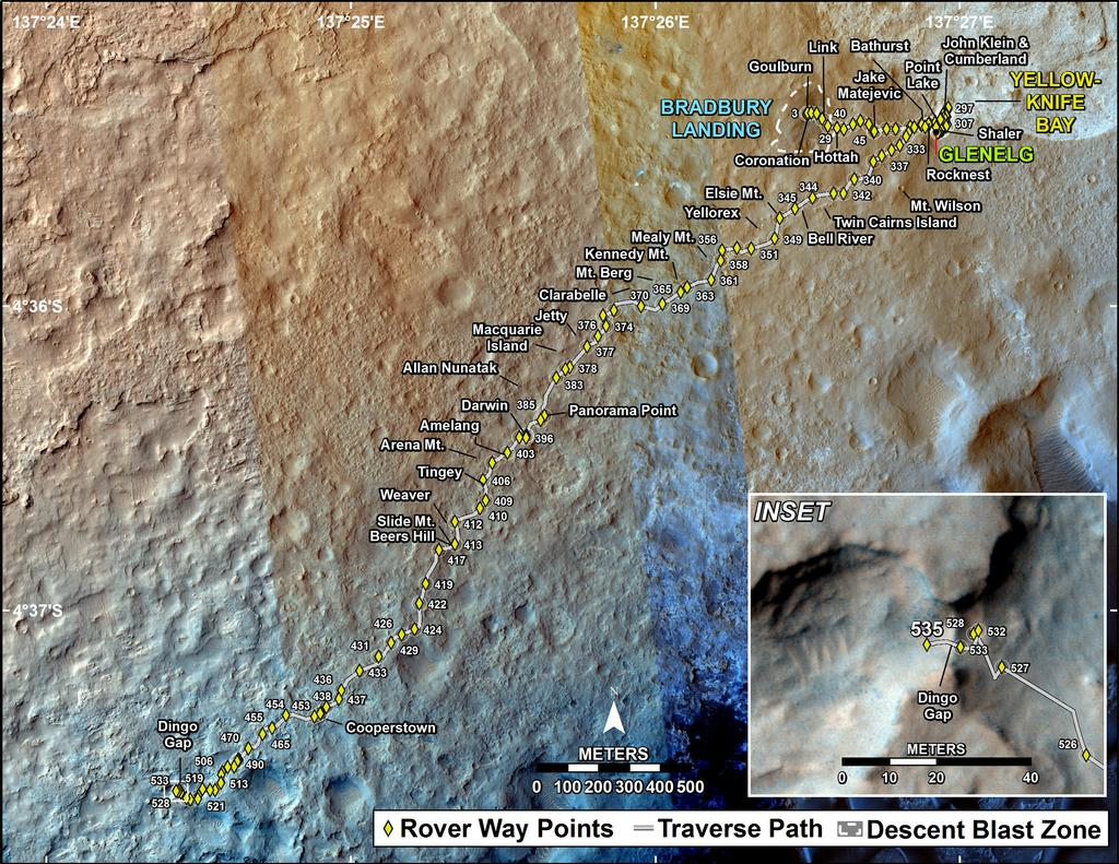 This map shows the route driven by NASA's Mars rover Curiosity through the 535 Martian day, or sol, of the rover's mission on Mars (February 6, 2014).