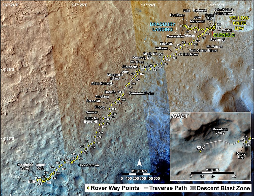 This map shows the route driven by NASA's Mars rover Curiosity through the 538 Martian day, or sol, of the rover's mission on Mars (February 9, 2014).