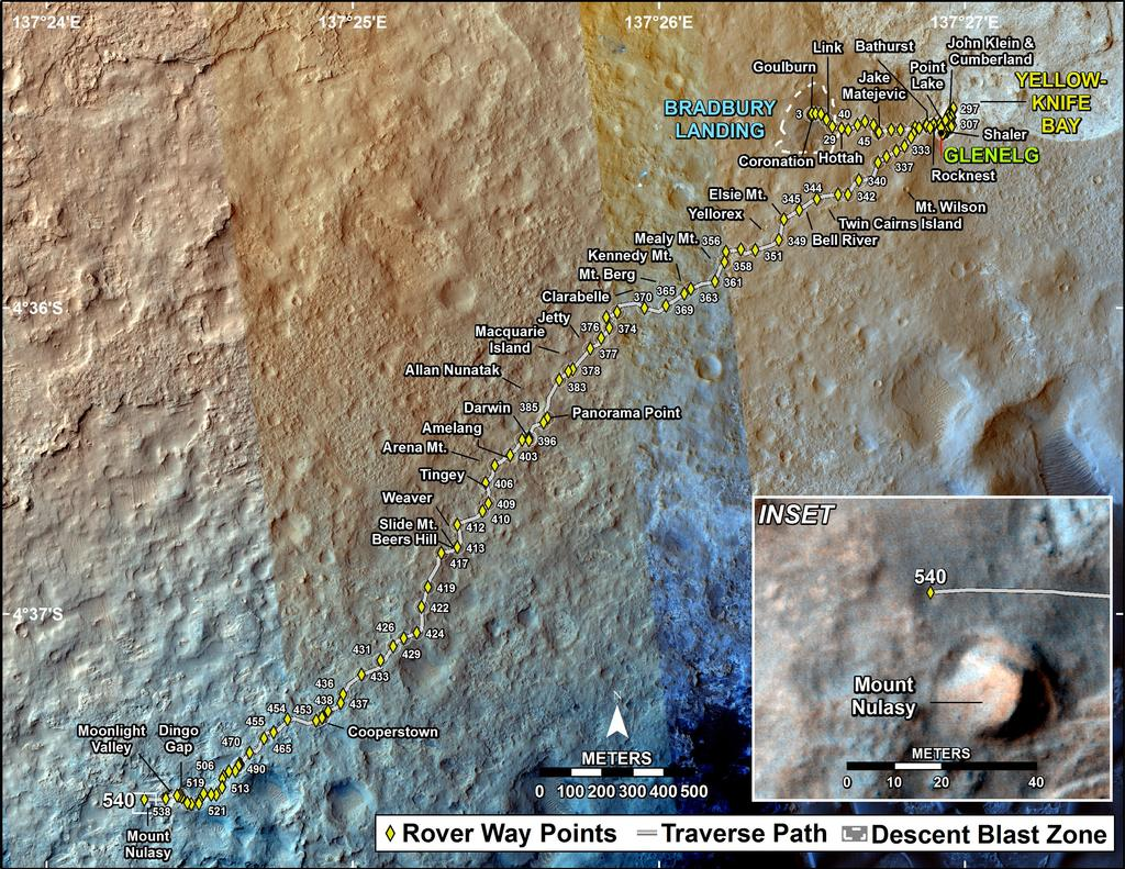 This map shows the route driven by NASA's Mars rover Curiosity through the 540 Martian day, or sol, of the rover's mission on Mars (February 12, 2014).