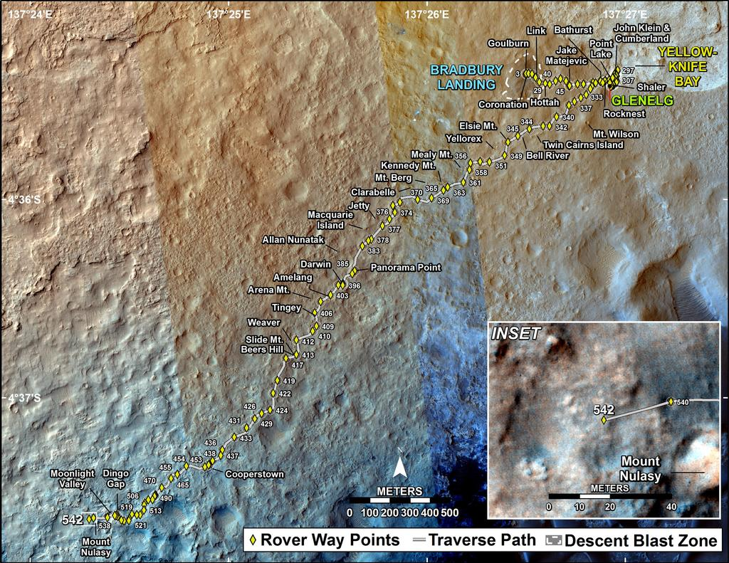 This map shows the route driven by NASA's Mars rover Curiosity through the 542 Martian day, or sol, of the rover's mission on Mars (February 14, 2014).