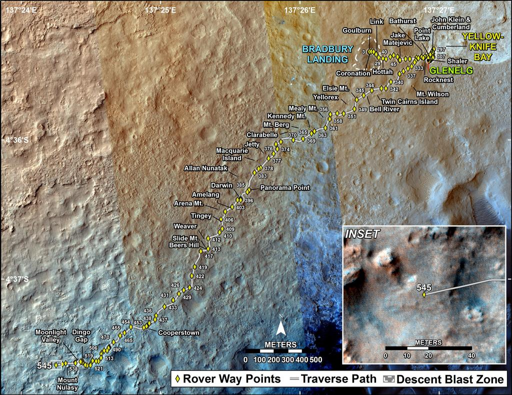 This map shows the route driven by NASA's Mars rover Curiosity through the 545 Martian day, or sol, of the rover's mission on Mars (February 17, 2014).