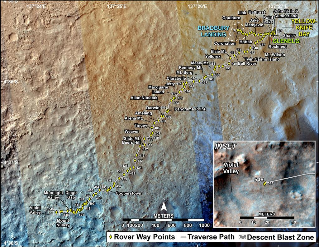 This map shows the route driven by NASA's Mars rover Curiosity through the 546 Martian day, or sol, of the rover's mission on Mars (February 18, 2014).