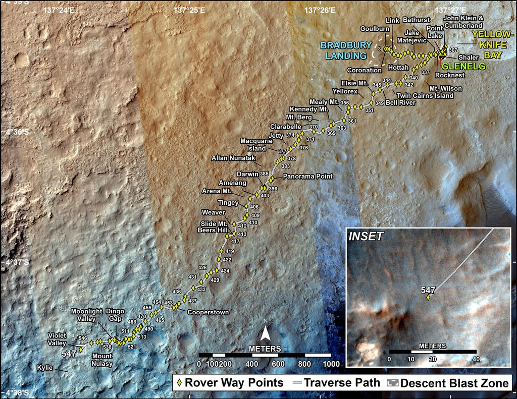 This map shows the route driven by NASA's Mars rover Curiosity through the 547 Martian day, or sol, of the rover's mission on Mars (February 19, 2014).