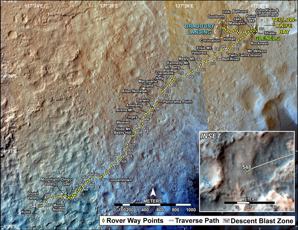This map shows the route driven by NASA's Mars rover Curiosity through the 548 Martian day, or sol, of the rover's mission on Mars (February 20, 2014).