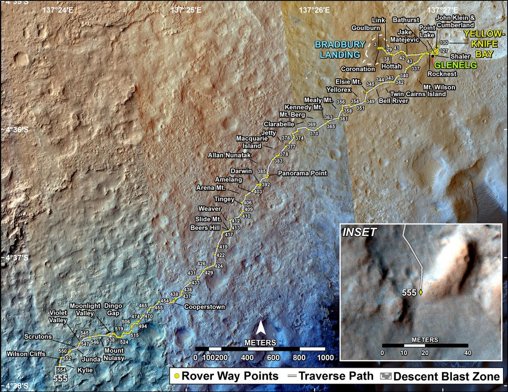 This map shows the route driven by NASA's Mars rover Curiosity through the 555 Martian day, or sol, of the rover's mission on Mars (February 26, 2014).