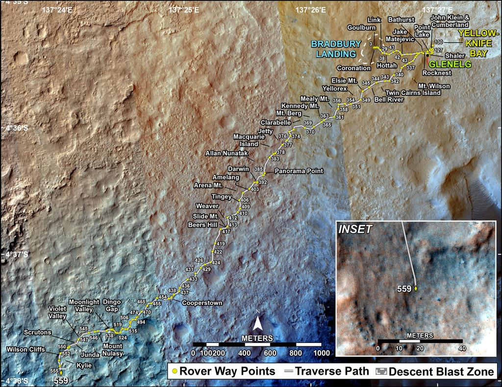 This map shows the route driven by NASA's Mars rover Curiosity through the 559 Martian day, or sol, of the rover's mission on Mars (March 3, 2014).