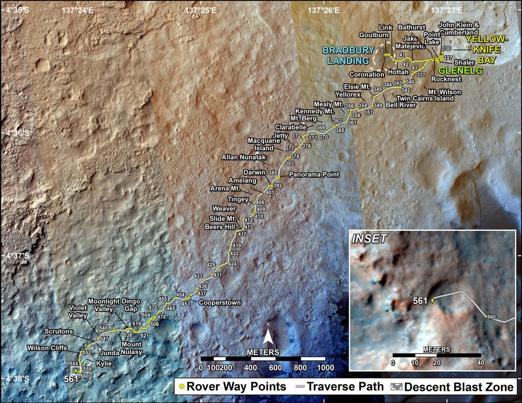 This map shows the route driven by NASA's Mars rover Curiosity through the 561 Martian day, or sol, of the rover's mission on Mars (March 5, 2014).