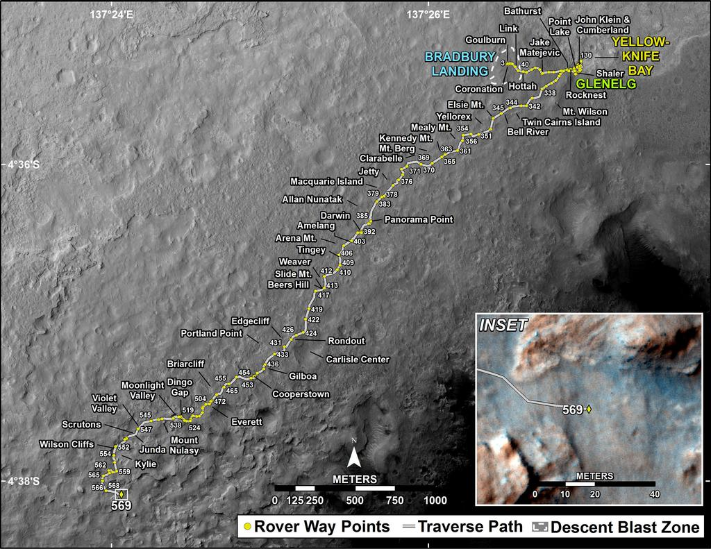 This map shows the route driven by NASA's Mars rover Curiosity through the 569 Martian day, or sol, of the rover's mission on Mars (March 13, 2014).