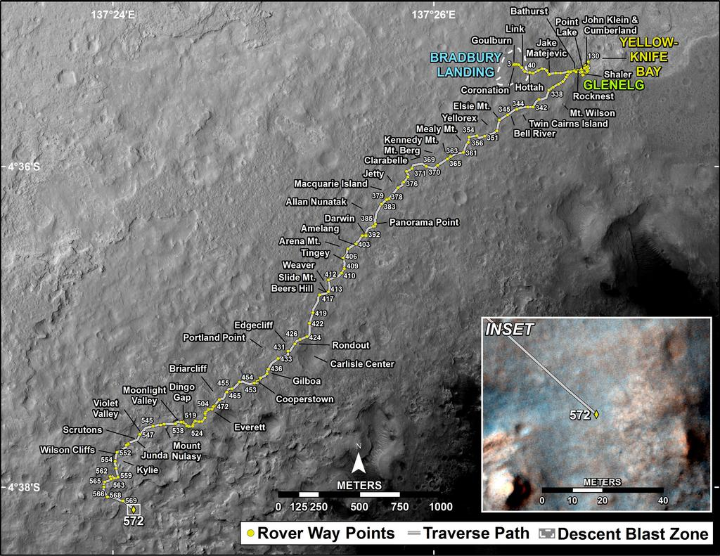 This map shows the route driven by NASA's Mars rover Curiosity through the 572 Martian day, or sol, of the rover's mission on Mars (March 17, 2014).