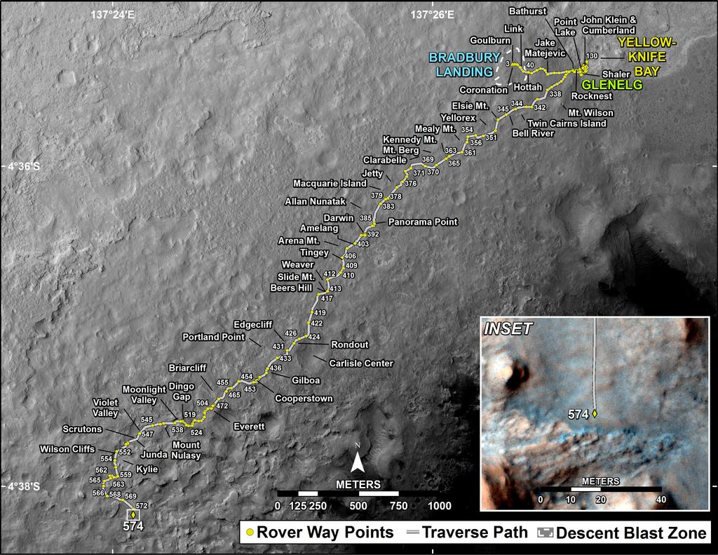 This map shows the route driven by NASA's Mars rover Curiosity through the 574 Martian day, or sol, of the rover's mission on Mars (March 18, 2014).