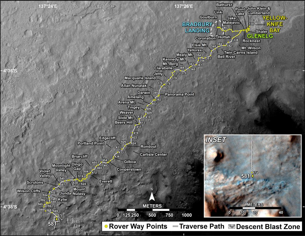 This map shows the route driven by NASA's Mars rover Curiosity through the 581 Martian day, or sol, of the rover's mission on Mars (March 26, 2014).