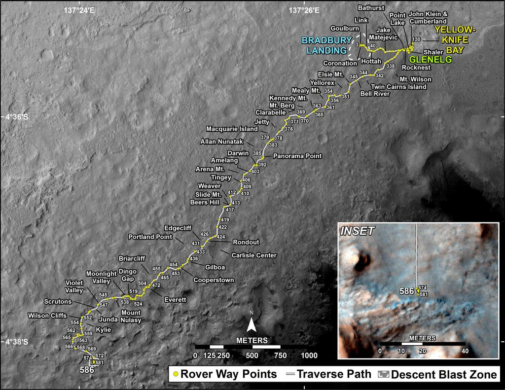 This map shows the route driven by NASA's Mars rover Curiosity through the 586 Martian day, or sol, of the rover's mission on Mars (March 31, 2014).