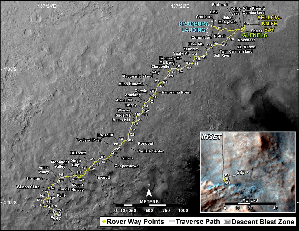 This map shows the route driven by NASA's Mars rover Curiosity through the 587 Martian day, or sol, of the rover's mission on Mars (April 1, 2014).