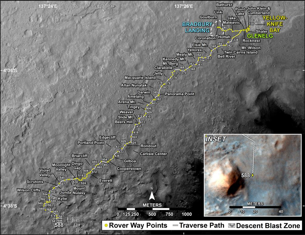 This map shows the route driven by NASA's Mars rover Curiosity through the 588 Martian day, or sol, of the rover's mission on Mars (April 2, 2014).