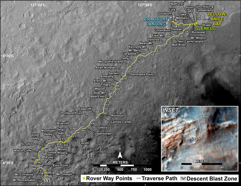 This map shows the route driven by NASA's Mars rover Curiosity through the 593 Martian day, or sol, of the rover's mission on Mars (April 7, 2014).