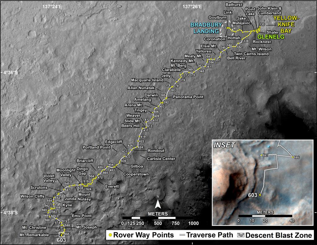 This map shows the route driven by NASA's Mars rover Curiosity through the 603 Martian day, or sol, of the rover's mission on Mars (April 22, 2014).