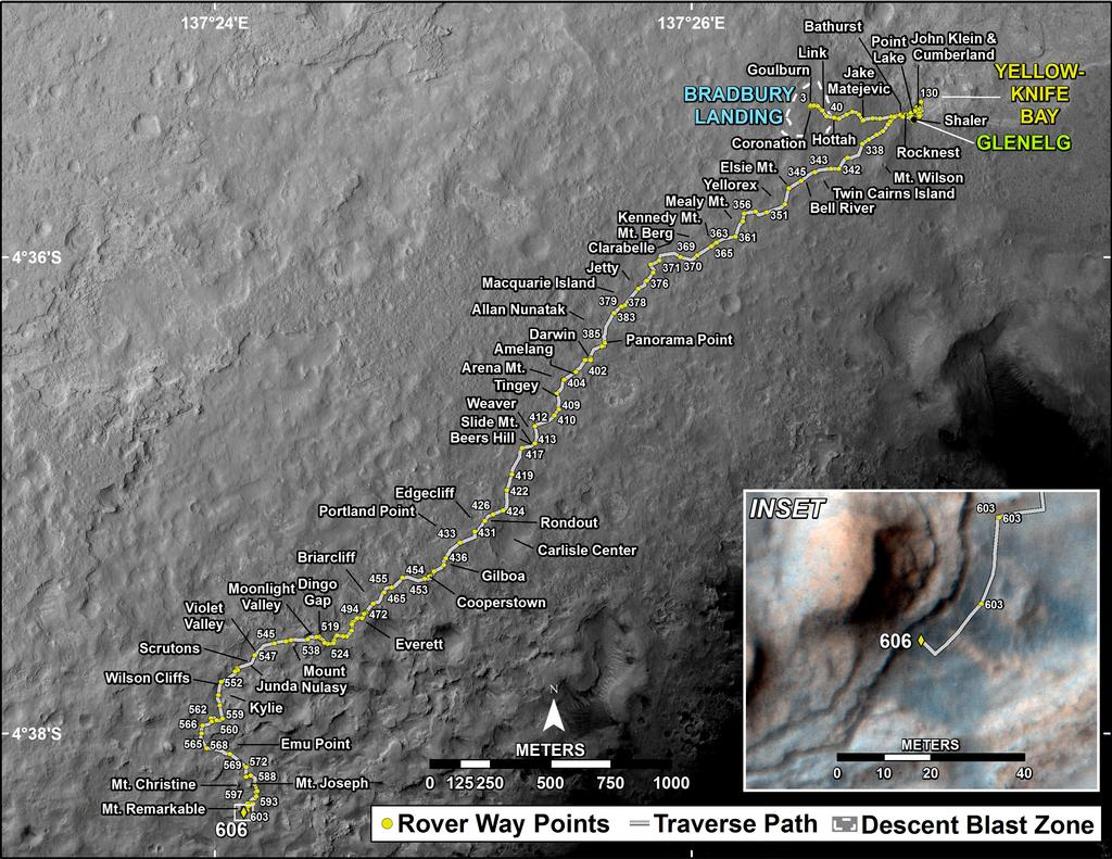 This map shows the route driven by NASA's Mars rover Curiosity through the 606 Martian day, or sol, of the rover's mission on Mars (April 22, 2014).