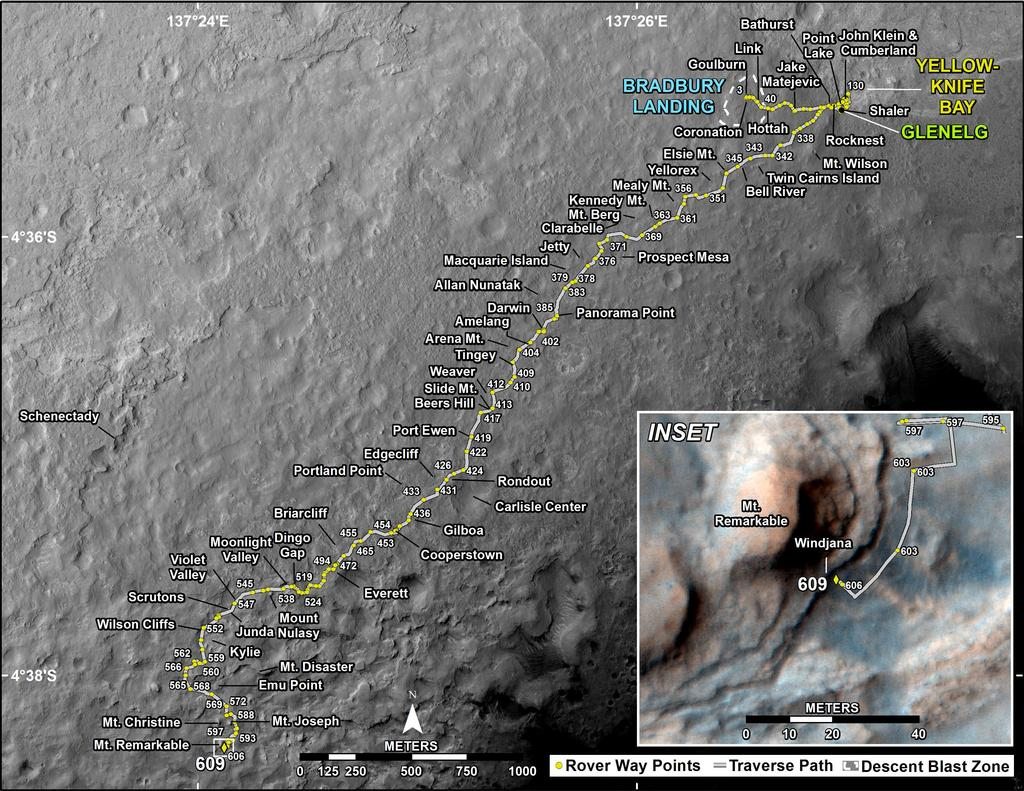 This map shows the route driven by NASA's Mars rover Curiosity through the 609 Martian day, or sol, of the rover's mission on Mars (April 25, 2014).