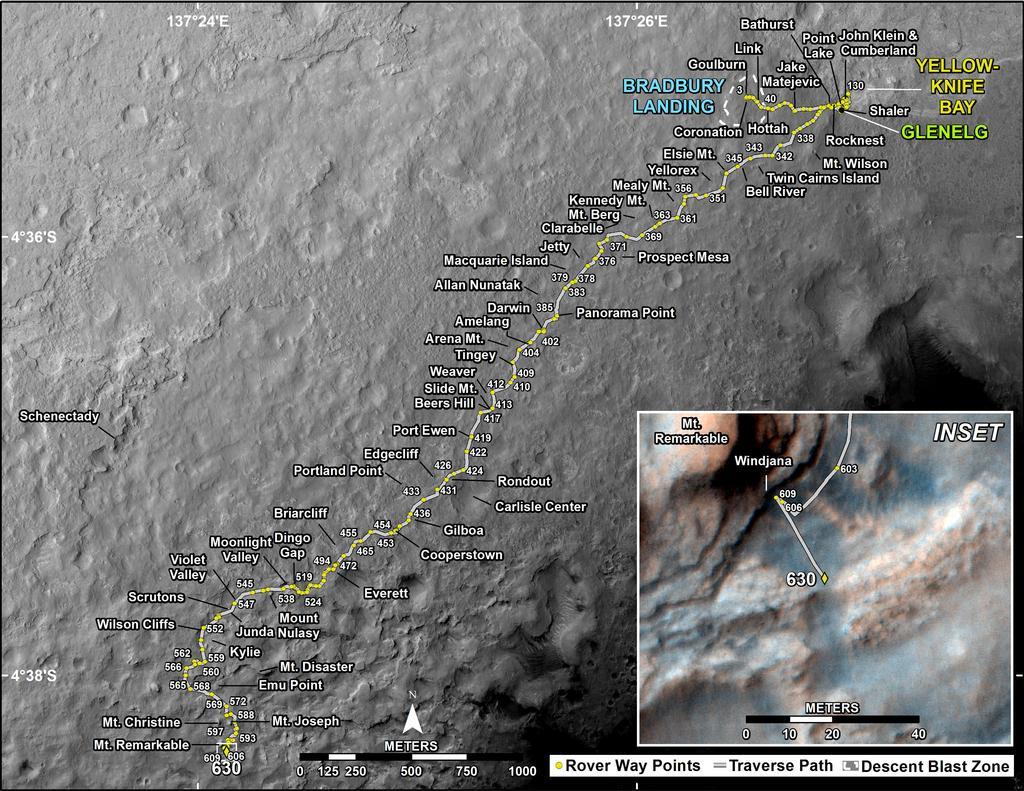 This map shows the route driven by NASA's Mars rover Curiosity through the 630 Martian day, or sol, of the rover's mission on Mars (May 15, 2014).