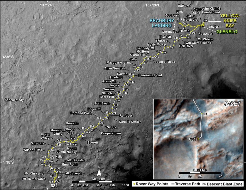 This map shows the route driven by NASA's Mars rover Curiosity through the 631 Martian day, or sol, of the rover's mission on Mars (May 16, 2014).