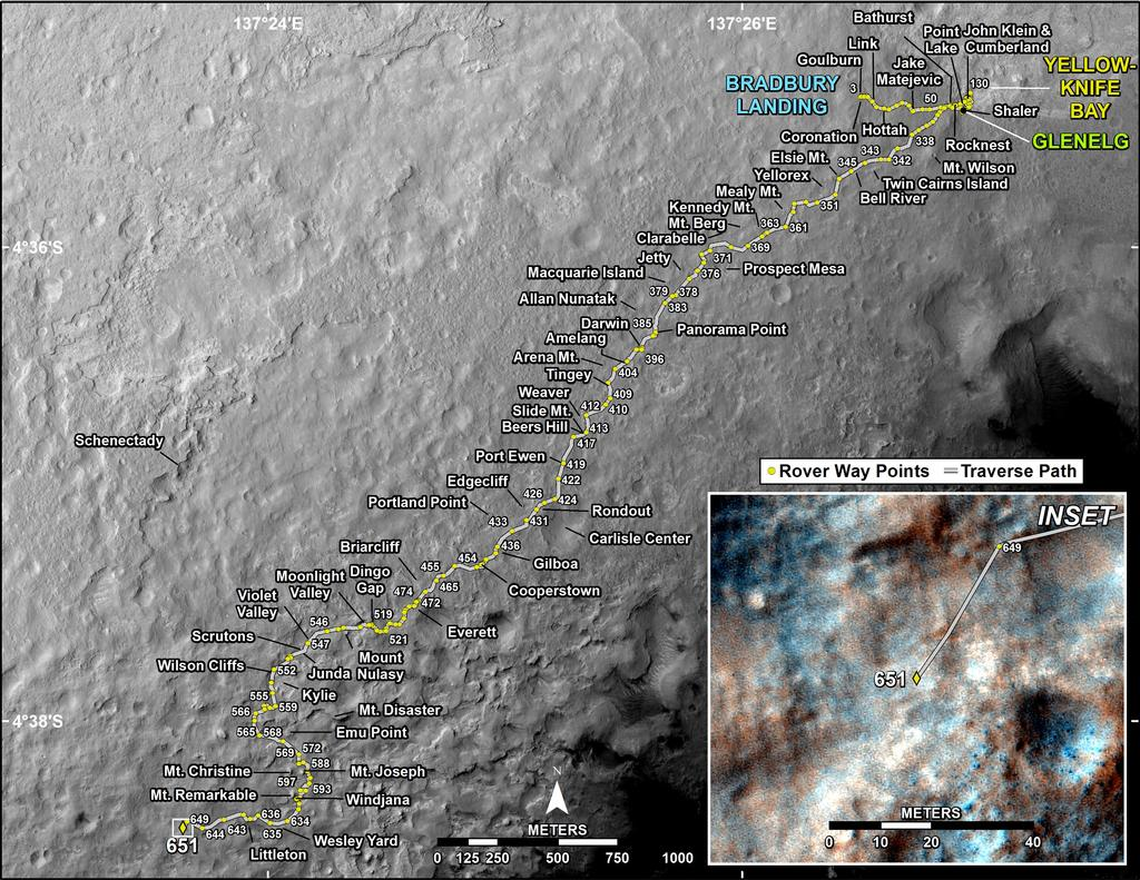 This map shows the route driven by NASA's Mars rover Curiosity through the 651 Martian day, or sol, of the rover's mission on Mars (June 6, 2014).