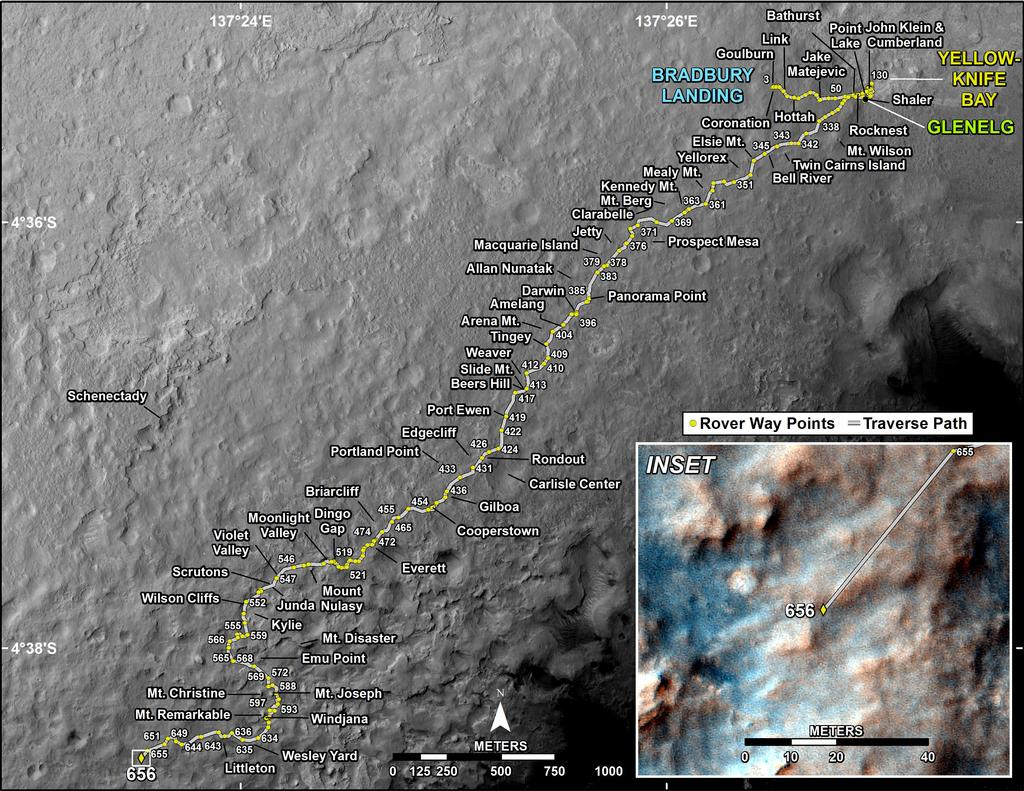 This map shows the route driven by NASA's Mars rover Curiosity through the 656 Martian day, or sol, of the rover's mission on Mars (June 11, 2014).