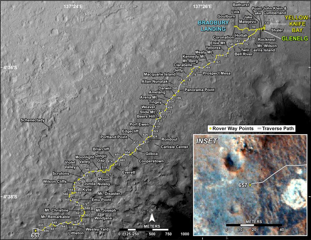 This map shows the route driven by NASA's Mars rover Curiosity through the 657 Martian day, or sol, of the rover's mission on Mars (June 12, 2014).