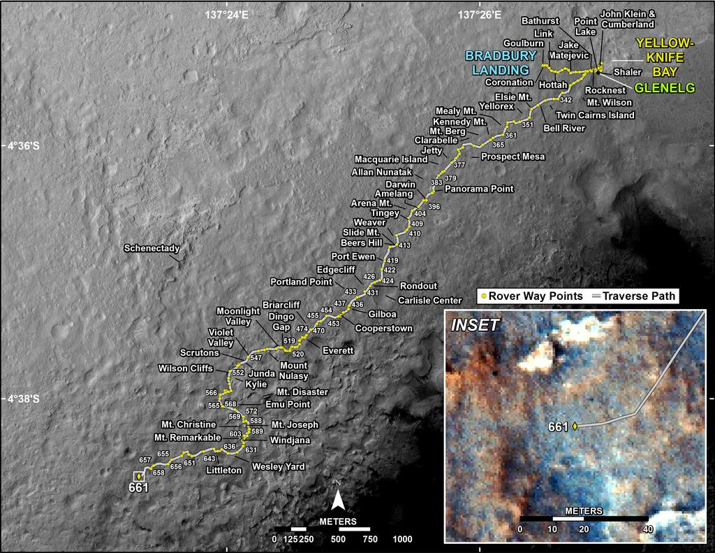 This map shows the route driven by NASA's Mars rover Curiosity through the 661 Martian day, or sol, of the rover's mission on Mars (June 16, 2014).