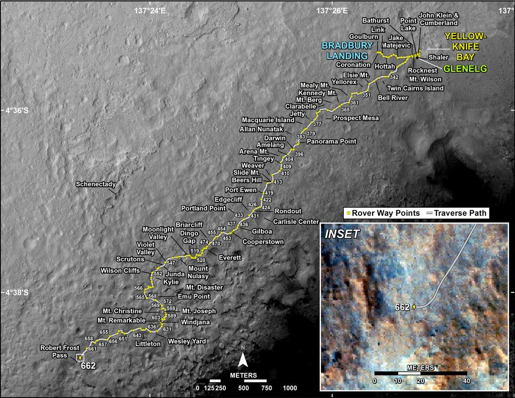 This map shows the route driven by NASA's Mars rover Curiosity through the 662 Martian day, or sol, of the rover's mission on Mars (June 17, 2014).