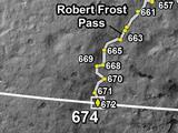Curiosity Rover's Location for Sol 674