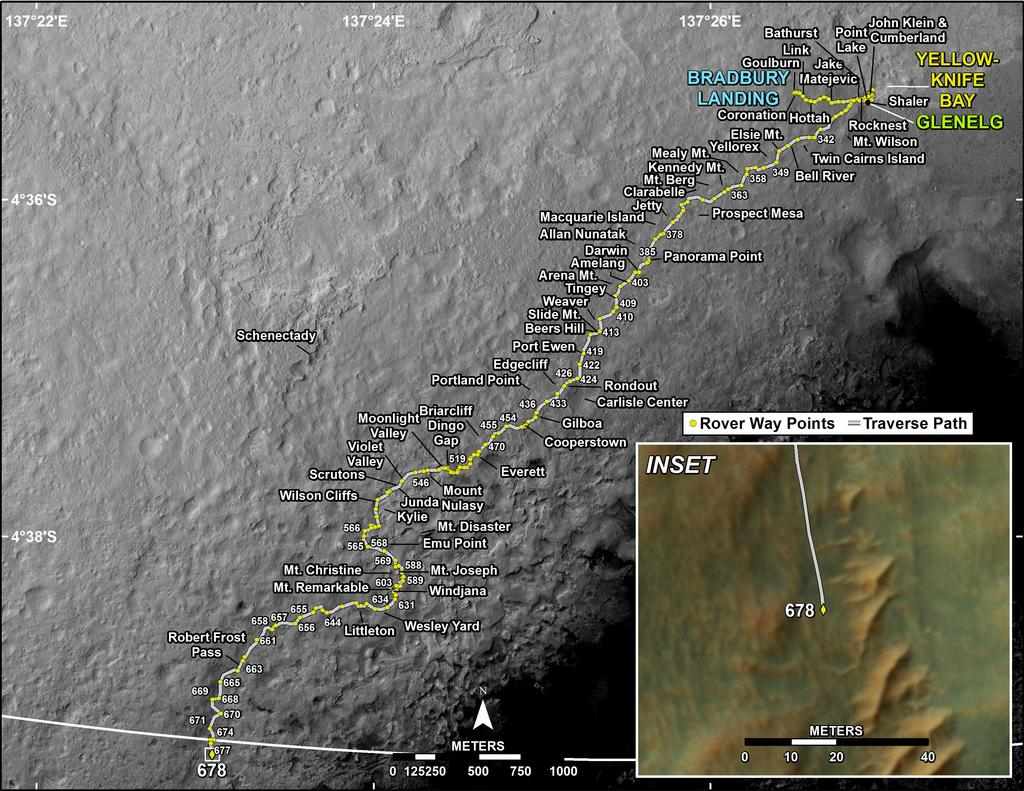 This map shows the route driven by NASA's Mars rover Curiosity through the 678 Martian day, or sol, of the rover's mission on Mars (July 3, 2014).