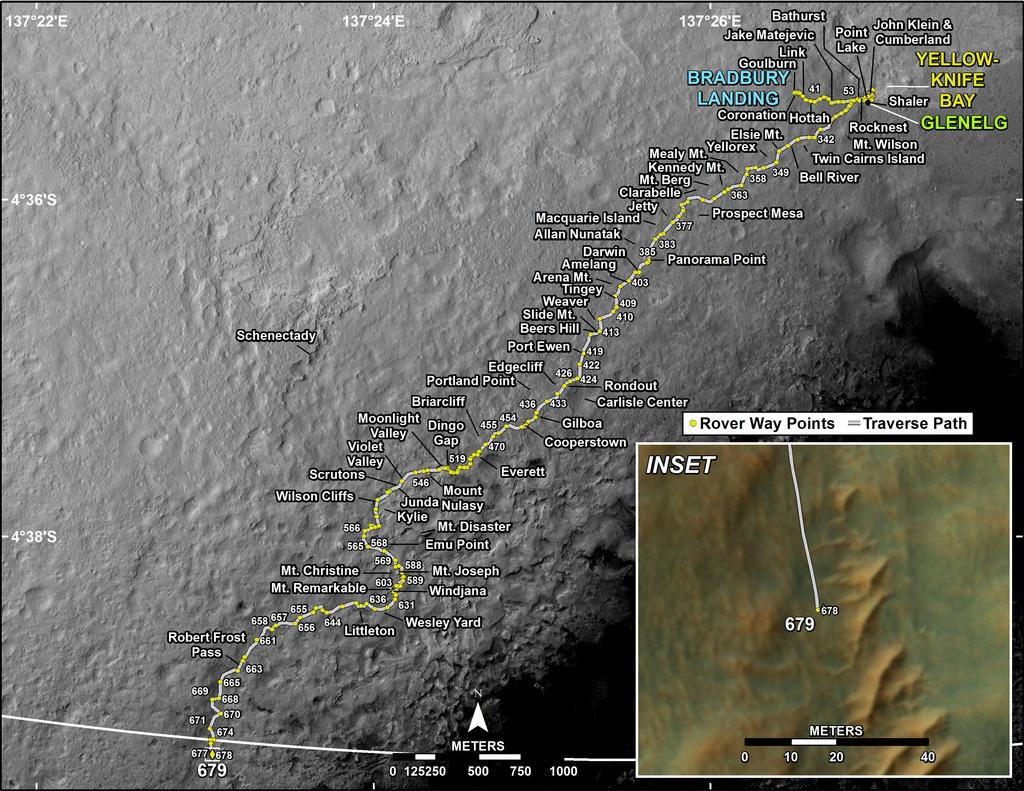 This map shows the route driven by NASA's Mars rover Curiosity through the 679 Martian day, or sol, of the rover's mission on Mars (July 4, 2014).