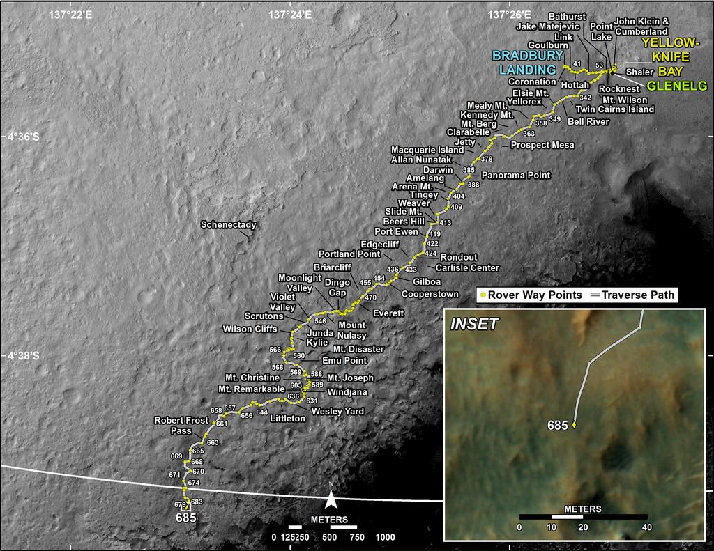 This map shows the route driven by NASA's Mars rover Curiosity through the 685 Martian day, or sol, of the rover's mission on Mars (July 11, 2014).
