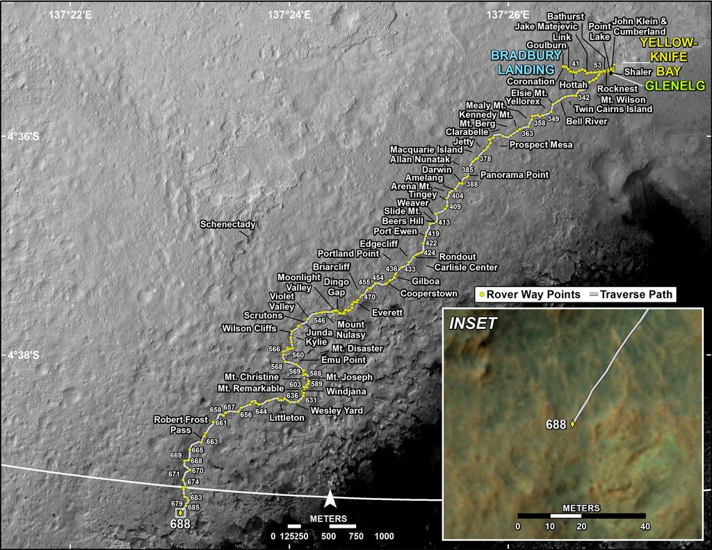 This map shows the route driven by NASA's Mars rover Curiosity through the 688 Martian day, or sol, of the rover's mission on Mars (July 14, 2014).