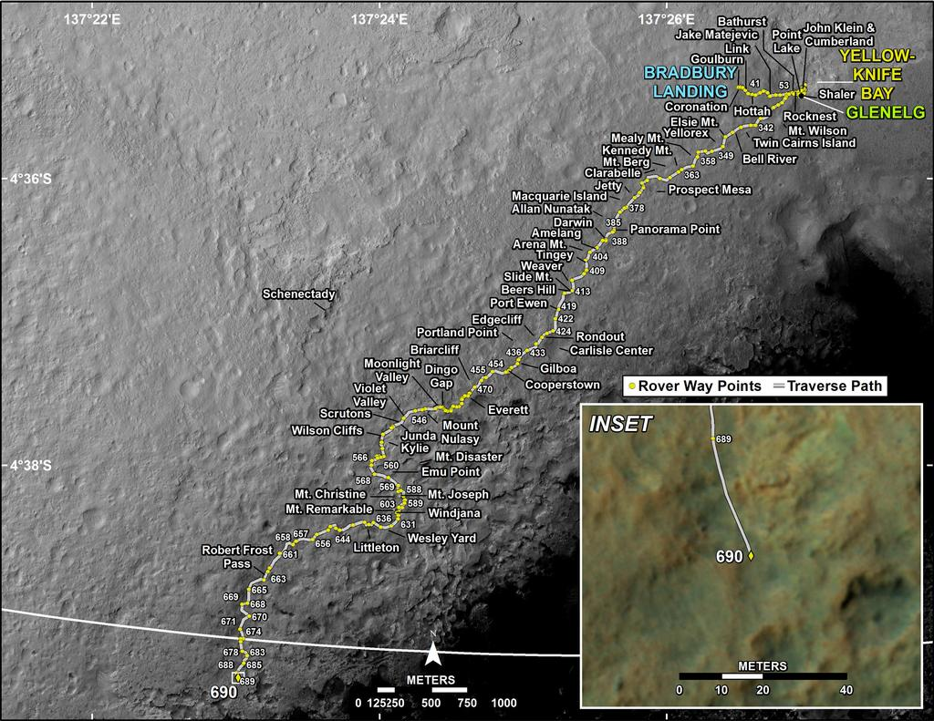 This map shows the route driven by NASA's Mars rover Curiosity through the 690 Martian day, or sol, of the rover's mission on Mars (July 16, 2014).