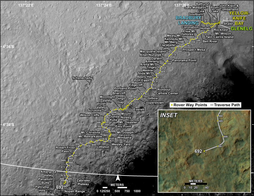 This map shows the route driven by NASA's Mars rover Curiosity through the 692 Martian day, or sol, of the rover's mission on Mars (July 18, 2014).