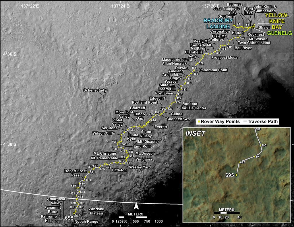 This map shows the route driven by NASA's Mars rover Curiosity through the 695 Martian day, or sol, of the rover's mission on Mars (July 21, 2014).