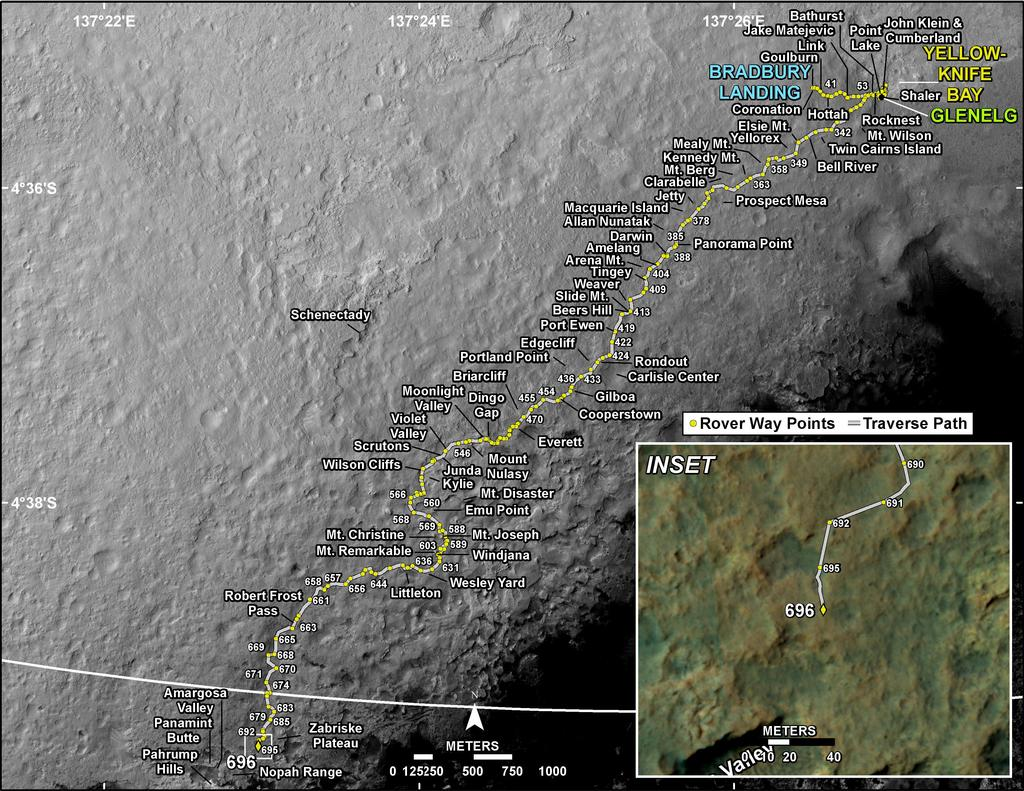 This map shows the route driven by NASA's Mars rover Curiosity through the 696 Martian day, or sol, of the rover's mission on Mars (July 22, 2014).