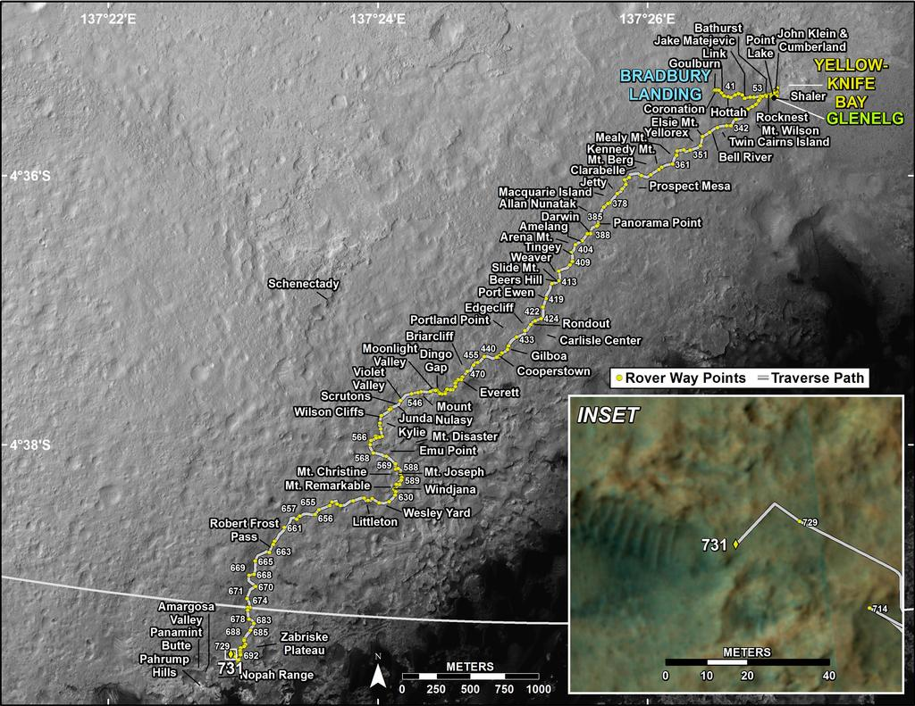 This map shows the route driven by NASA's Mars rover Curiosity through the 731 Martian day, or sol, of the rover's mission on Mars (August 27, 2014).