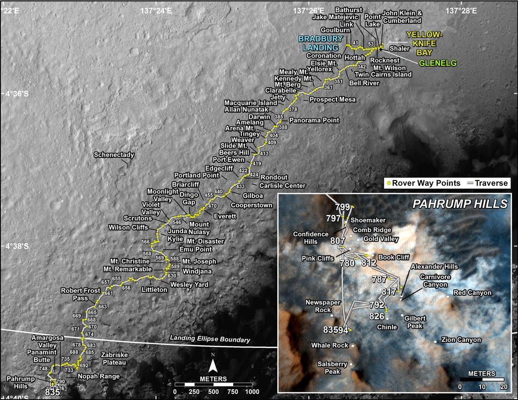 This map shows the route driven by NASA's Mars rover Curiosity through the 835 Martian day, or sol, of the rover's mission on Mars (December, 12, 2014).