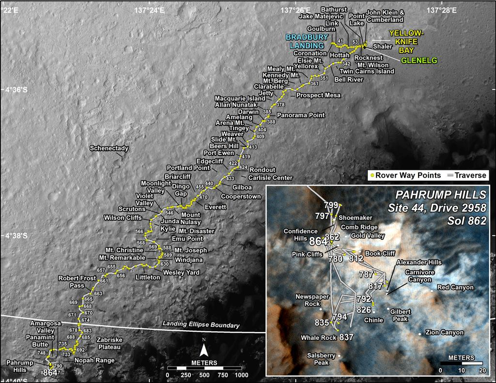 This map shows the route driven by NASA's Mars rover Curiosity through the 864 Martian day, or sol, of the rover's mission on Mars (January, 11, 2015).